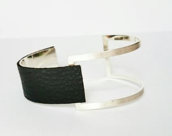 Silver Black graphic adjustable cuff bracelet
