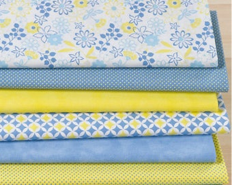 "Set of 7 fabric patchwork 50 x 30 cm ""Bibione"" yellow/blue"