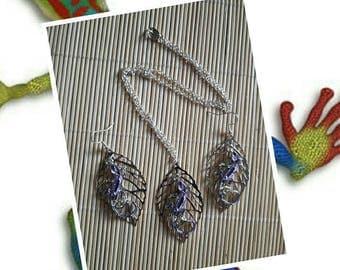 Purple gecko lizard salamander themed necklace earrings set