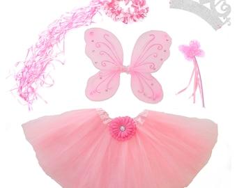 5 Piece Shimmering Light Pink Fairy Princess Costume Set