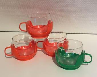 """Vintage set of 4 cups """"bubble"""""""