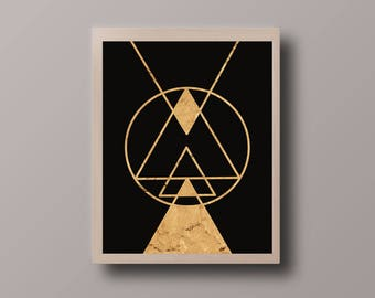 Scandinavian Abstract Print, Gold Foil Geometric, Minimalist Print, Abstract Polygon Print, Abstract Foil Print, Minimalist Triangle Print