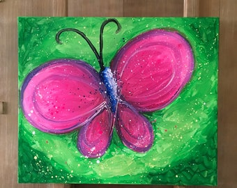Pink Butterfly Painting