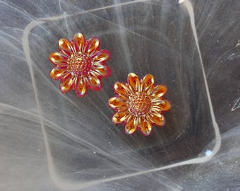 Red cabochon flower scrapbooking
