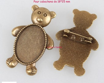 Set of 5 holders pins bears for 18 * 25 mm cabochons