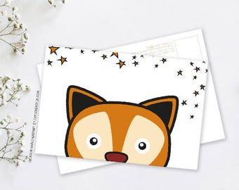 Decorative postcard Anaël the Fox