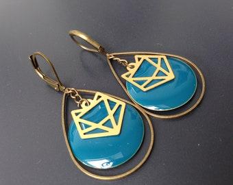 boucles gouttes bronze cercle bleu canard origami renard or