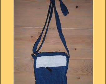 "Nice ""Blue-white"" organic fabric clutch bag"