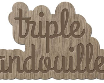 TRIPLE mug - the words young - laser cut wood - magnet
