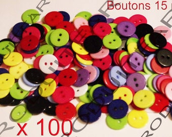 Set of 100 buttons 15 mm 2 hole resin colors Blue Pink white yellow red green etc...