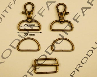 Set of 2 required straps Bronze Ring carabiner passing tote for 30 MM
