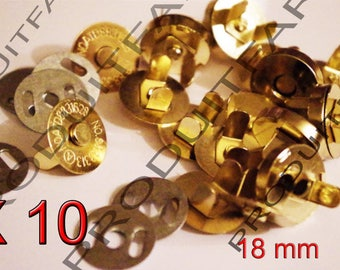 Snap magnetic clasp Snaps 10 bags coat wallet gold 18 mm