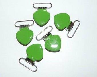 Pacifier clip-green heart