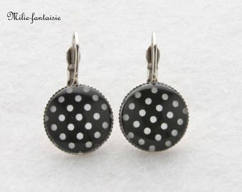"""Earrings """"black and white polka dots""""-cabochon"""