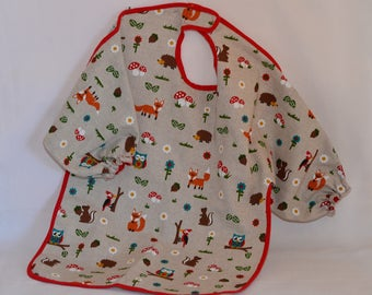 Bib with sleeves for baby forest animals pattern