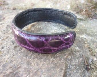 Purple crocodile leather and black leather Cuff Bracelet