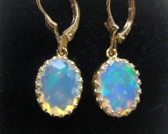 Fantastic Rainbow opal earrings. 585 GOLD