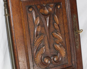Vintage Hand Carved Cupboard Door lock and key RIGHT HAND