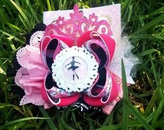Ballet ballerina hair bow pink white black