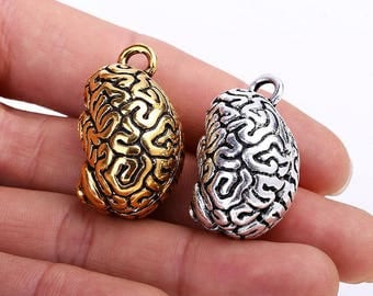 3 pcs 3D Brains Charms Vintage Charm Pendant Charms for Jewelry Making