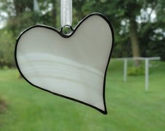 Stained Glass Heart Suncatcher, White