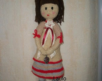 crocheted in beige and red wool doll