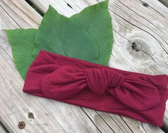 Top knot headband in Bold Burgundy / baby toddler bow turban knot hair band
