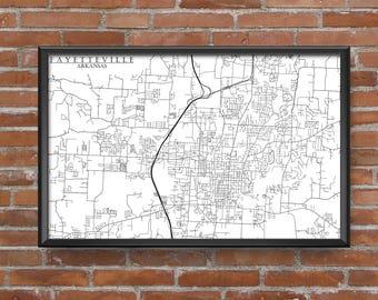 Fayetteville, Arkansas Map Art