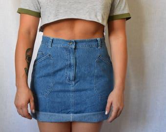 """Bill Blass Vintage High Waist Denim Skirt Waist 30"""""""