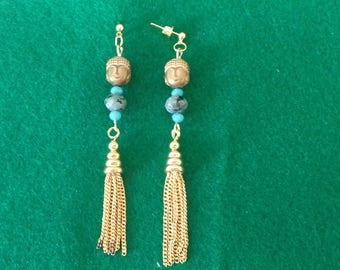 dangling earrings with black