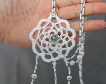 Necklace beads and crochet dream catcher way