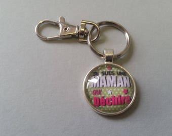 Bag charm - Keychain - MOM who rocks - Green