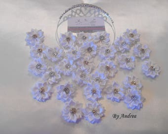Small applique fabric flowers in white satin with Rhinestones to customize your creations