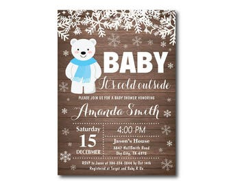 Winter Baby Shower Invitation. Baby its cold outside Baby Shower Invitation. Boy Baby Shower Invitation. Polar Bear. Printable Digital.