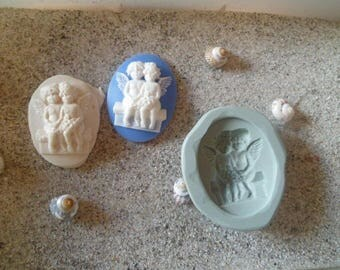 love Angels for wepam fimo cameo silicone mold resin plaster