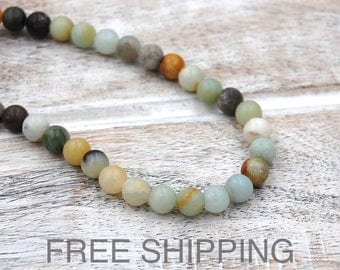 Amazonite Beads, 6mm multicolor FREE SHIPPING -15 inch strand