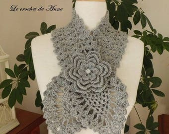 Light gray, adorned with a flower scarf brooch!