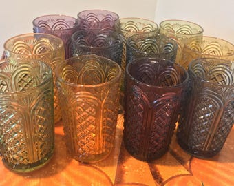 Glamorous Set of 12 Pressed Glass Jewel Toned Vintage Tumblers Art Deco Cut Glass Collins Glass Highball Glasses