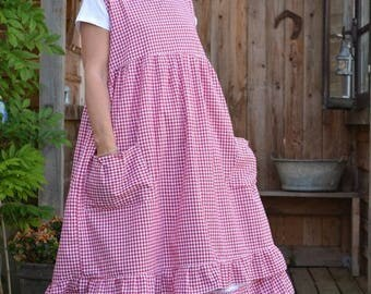 cotton red gingham apron pattern Camellia
