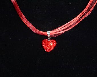 Red organza necklace