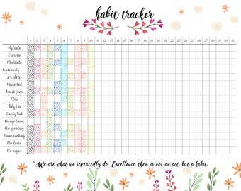 Habit Tracker Bullet Journal -- track your habits orange  template printable