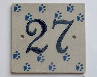 Door number '27' ceramic (stoneware), Blue Cat paws on a beige background, resistant to frost