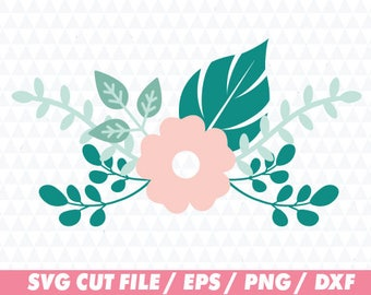 Flower svg, Floral svg, Floral Cricut, Flower wreath svg, Floral wreath svg, Laurel svg, Leaf svg, Monogram svg, Monogram wreath svg