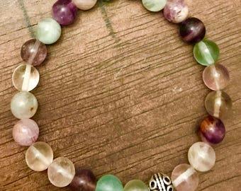 Fluorite 8mm bead bracelet