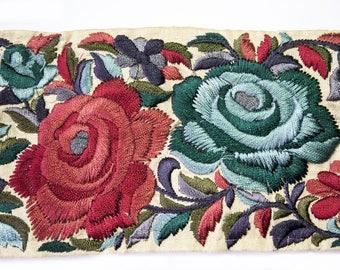 Ribbon Beige Floral pattern Blue Burgundy 8 cm x 50 cm