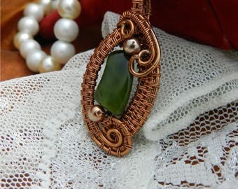 """Pendant """"Louise"""" wire wrapping and green natural stone"""