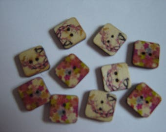 10 BUTTONS WOOD FLOWER SHAPED SQUARES / / 15 MM / / SET 3
