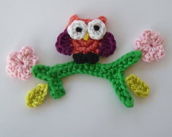 little orange OWL sitting on a branch - applique crochet