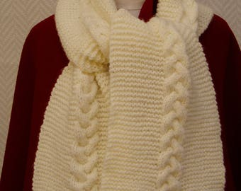 "White ""Chalk"" hand knitted wool scarf"