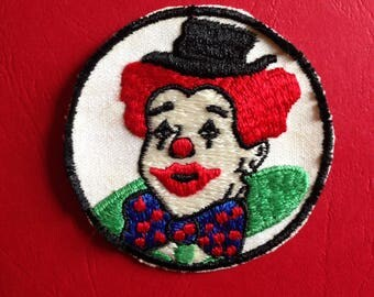 Vintage CLOWN Patch 60s 70s Sew On